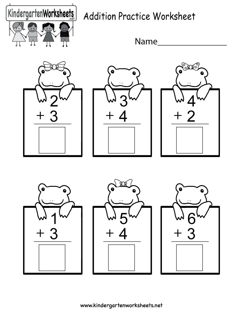 medium resolution of Practice Adding Math Worksheet - Free Kindergarten Worksheet for Kids
