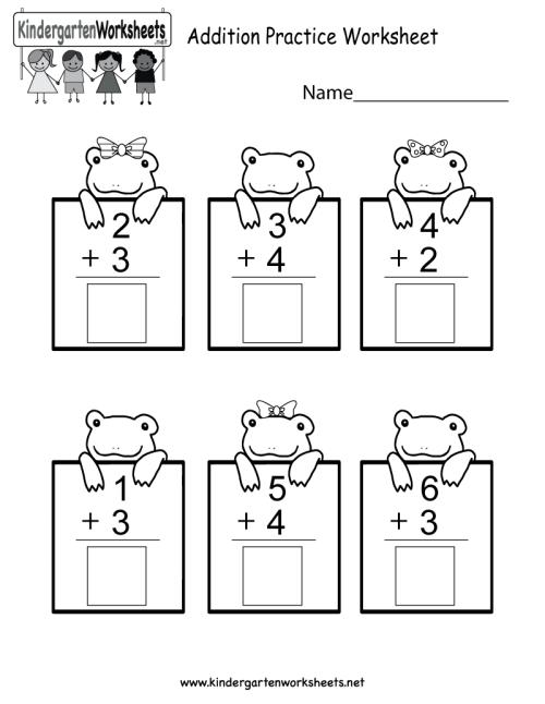 small resolution of Practice Adding Math Worksheet - Free Kindergarten Worksheet for Kids