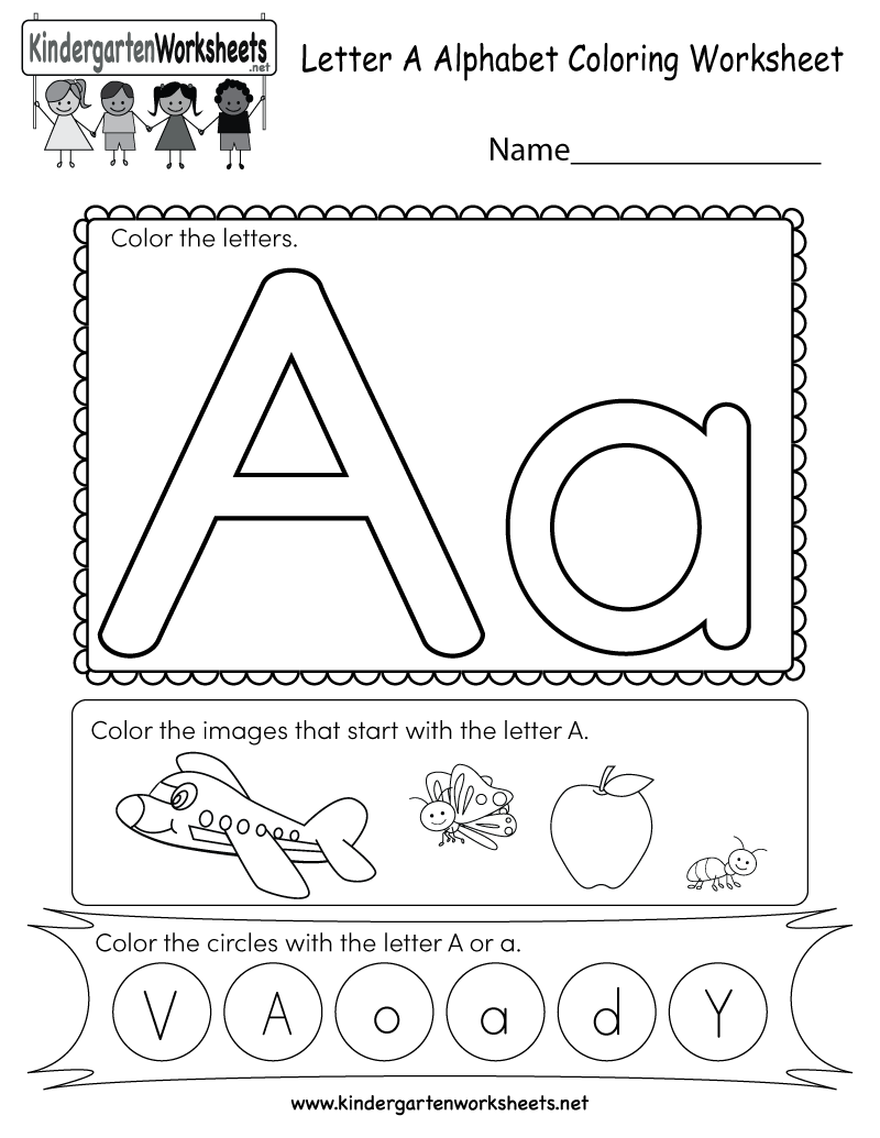 Letter A Coloring Worksheet - Free Kindergarten English ... | alphabet coloring worksheets for kindergarten