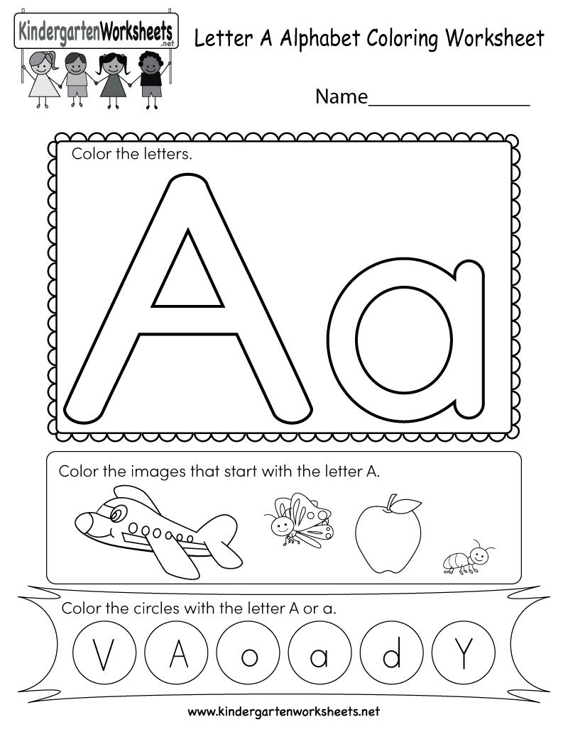 Letter A Coloring Worksheet - Free Kindergarten English ... | alphabet coloring worksheets for kindergarten
