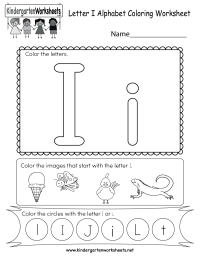 Free Printable Letter I Coloring Worksheet for Kindergarten