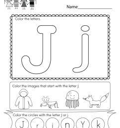 Letter J Coloring Worksheet - Free Kindergarten English Worksheet for Kids [ 1035 x 800 Pixel ]