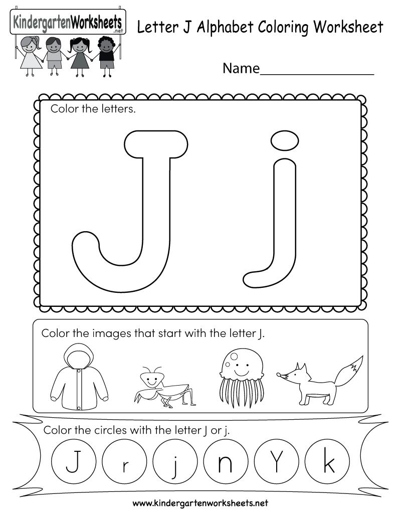 medium resolution of Letter J Coloring Worksheet - Free Kindergarten English Worksheet for Kids