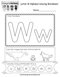 Letter W Coloring Worksheet - Free Kindergarten English ...