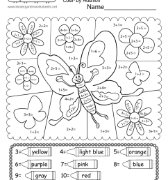 Butterfly Color by Addition Worksheet - Free Printable [ 1035 x 800 Pixel ]