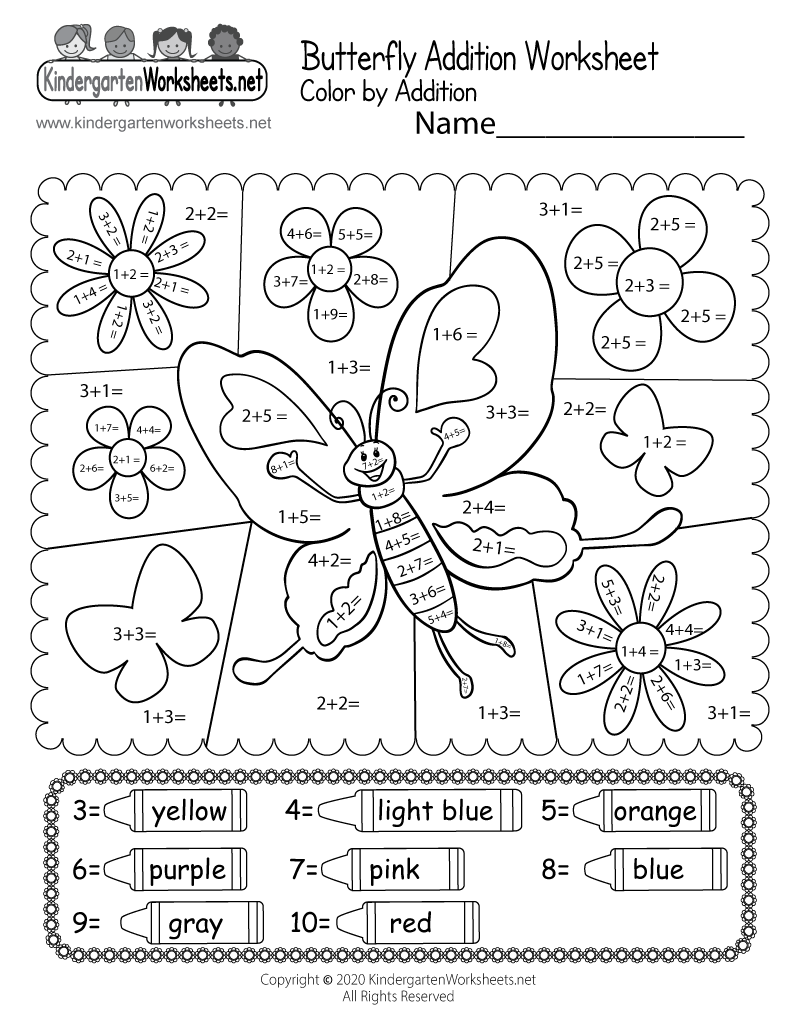 medium resolution of Butterfly Color by Addition Worksheet - Free Printable