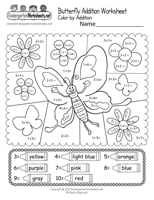 small resolution of Butterfly Color by Addition Worksheet - Free Printable