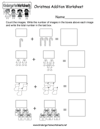 Free Printable Christmas Addition Worksheet for Kindergarten