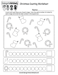 Christmas Counting Worksheet - Free Kindergarten Holiday ...