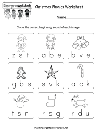 Free Printable Christmas Phonics Worksheet for Kindergarten