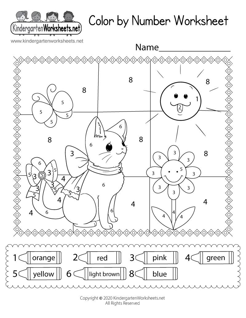 Cat Color By Number Worksheet For Kids Free Printable Digital Pdf