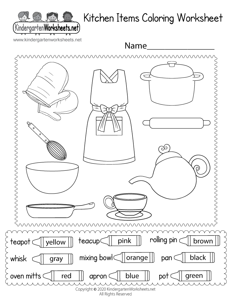 Kitchen Utensils Worksheet For Kindergarten. cooking