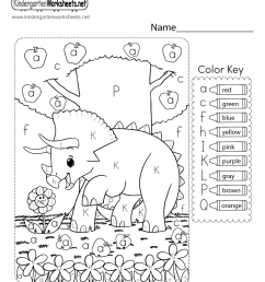 Color by Letter Worksheet for Kindergarten - Free Printable [ 1035 x 800 Pixel ]