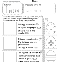 Easter Reading Worksheet for Kindergarten [ 1035 x 800 Pixel ]