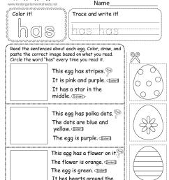 Easter Reading Worksheet for Kindergarten [ 1035 x 800 Pixel ]