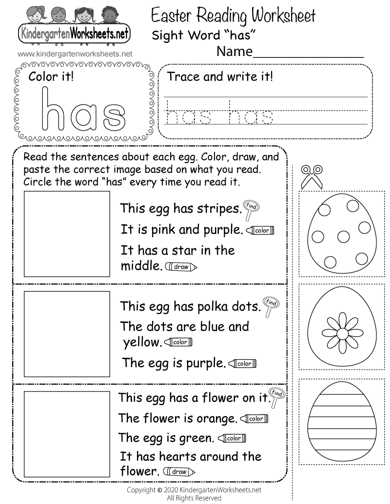 medium resolution of Easter Reading Worksheet for Kindergarten