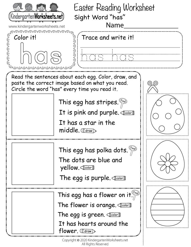 hight resolution of Easter Reading Worksheet for Kindergarten