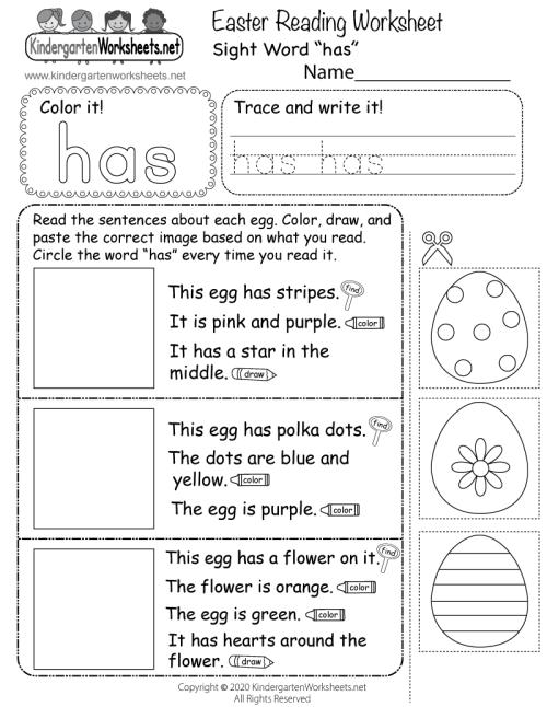 small resolution of Easter Reading Worksheet for Kindergarten