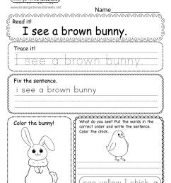 Easter Writing Worksheet for Kindergarten [ 1035 x 800 Pixel ]