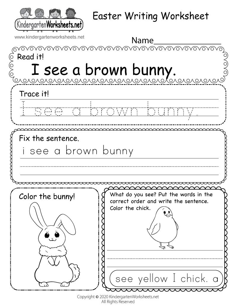 hight resolution of Easter Writing Worksheet for Kindergarten