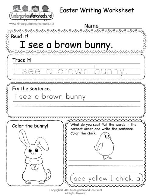 small resolution of Easter Writing Worksheet for Kindergarten
