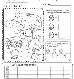 Free Easter Math Worksheet for Kindergarten - Count [ 1035 x 800 Pixel ]