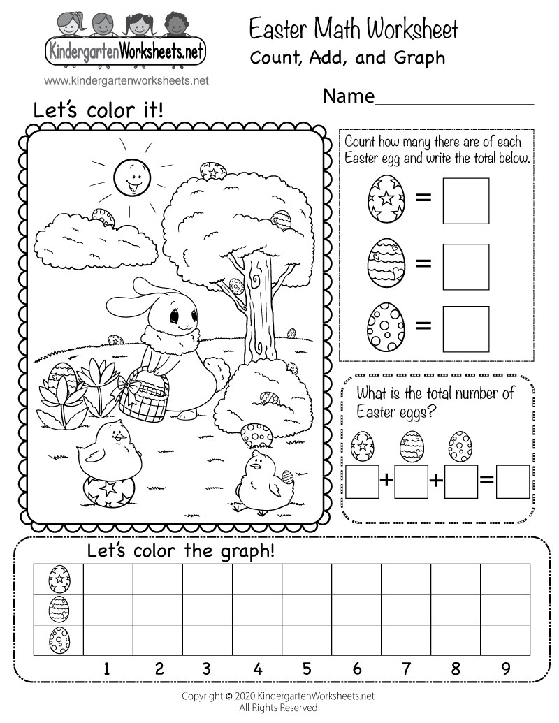 medium resolution of Free Easter Math Worksheet for Kindergarten - Count