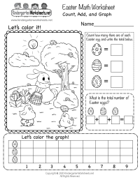 Easter Math Worksheet - Free Kindergarten Holiday ...