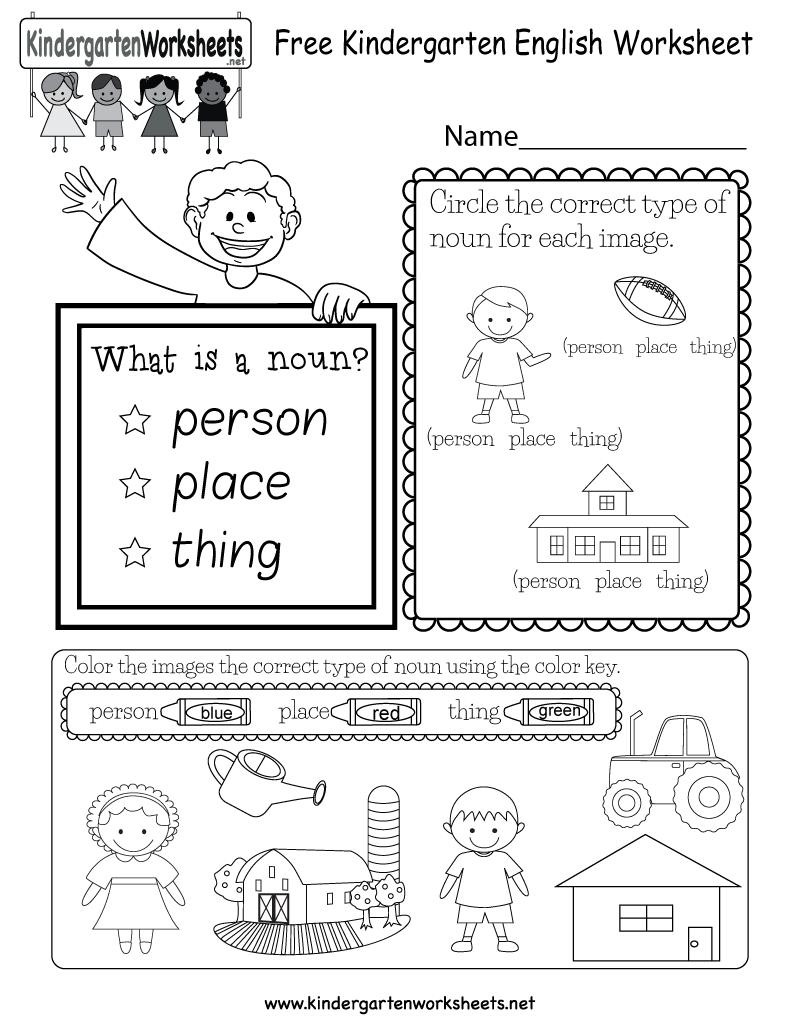 medium resolution of Free Kindergarten English Worksheet