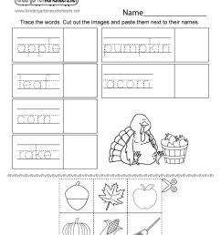 Autumn Activity Worksheet for Kindergarten - Free Printable [ 1035 x 800 Pixel ]