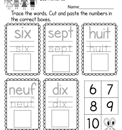 Beginners' French Worksheet - Free Kindergarten Learning Worksheet for Kids [ 1035 x 800 Pixel ]