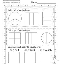 Fractions Worksheet - One Half [ 1035 x 800 Pixel ]