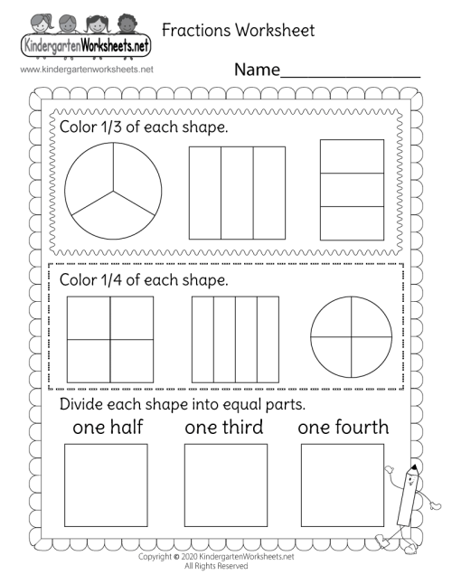 small resolution of Fractions Worksheet - One Half