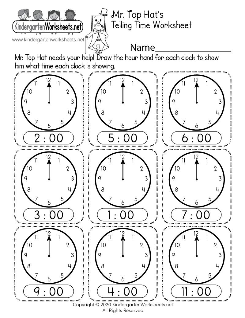 medium resolution of Telling Time Worksheet - Free Printable