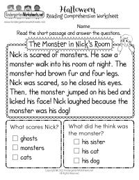 Free Printable Halloween Reading Comprehension Worksheet ...