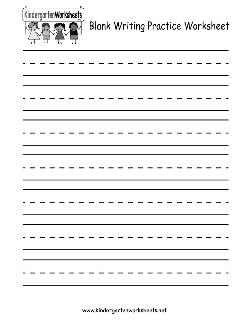 medium resolution of Blank Writing Practice Worksheet - Free Kindergarten English Worksheet for  Kids