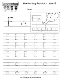 Free Printable Letter E Writing Practice Worksheet for ...