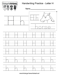 Free Printable Letter H Writing Practice Worksheet for ...