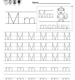 Letter M Writing Practice Worksheet - Free Kindergarten English Worksheet  for Kids [ 1035 x 800 Pixel ]