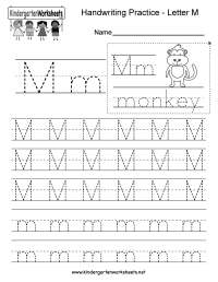 Letter M Writing Practice Worksheet - Free Kindergarten ...