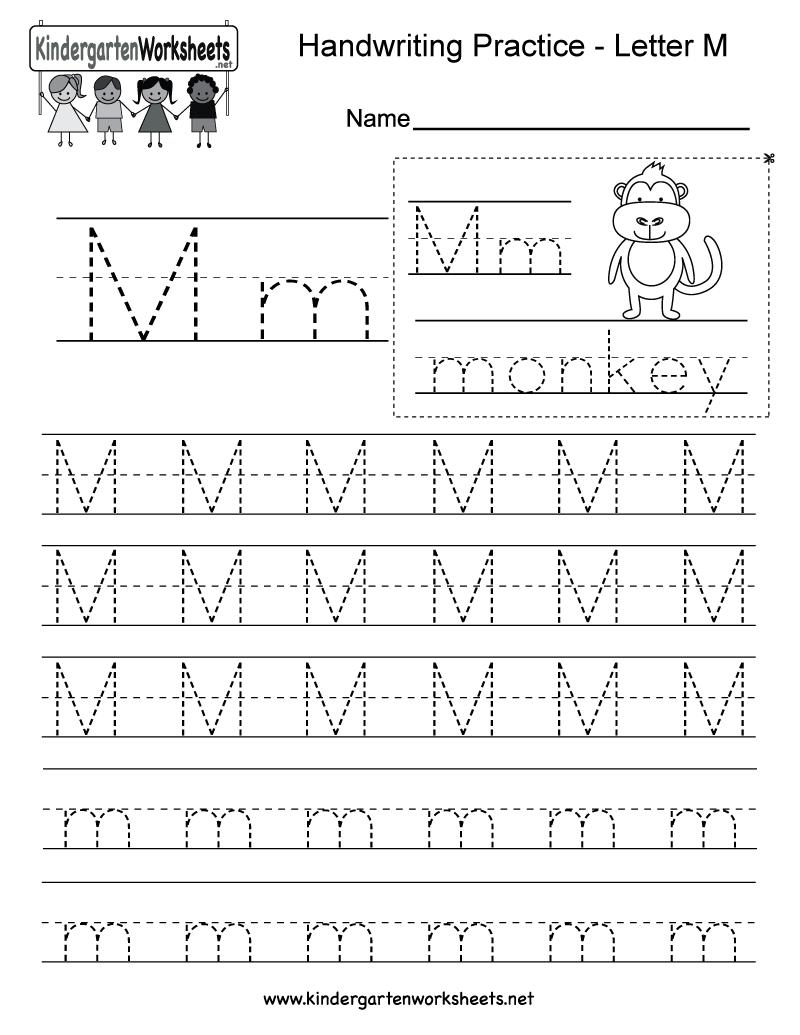 hight resolution of Letter M Writing Practice Worksheet - Free Kindergarten English Worksheet  for Kids
