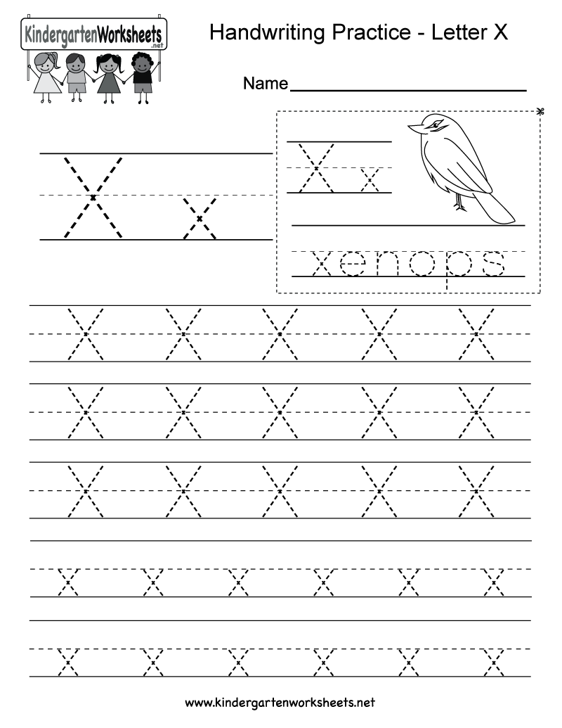 hight resolution of Letter X Writing Practice Worksheet - Free Kindergarten English Worksheet  for Kids