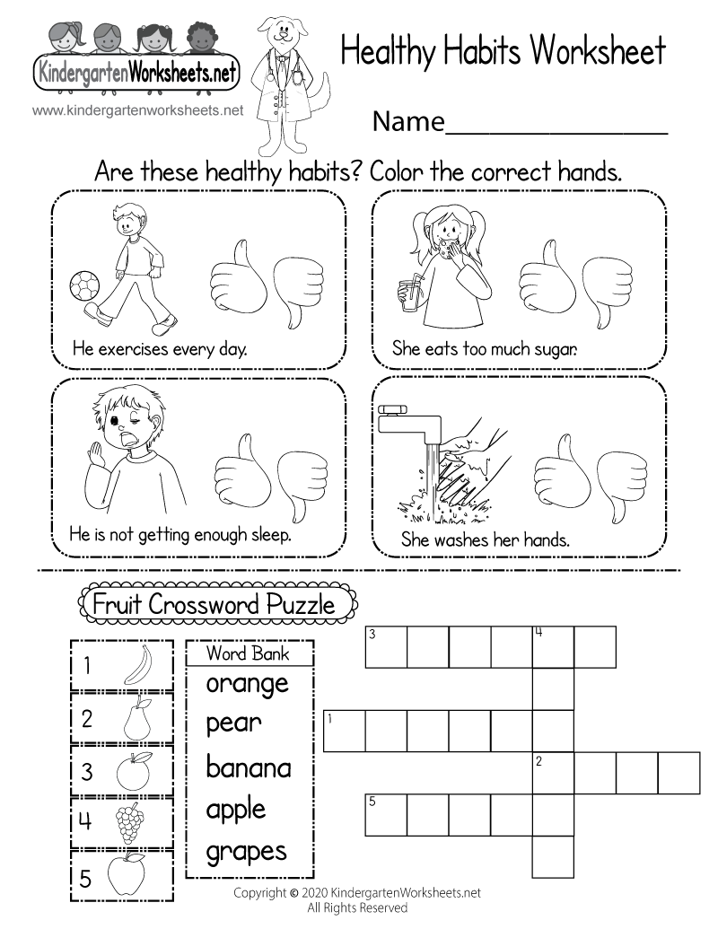 medium resolution of Healthy Habits Worksheet for Kindergarten - Printable