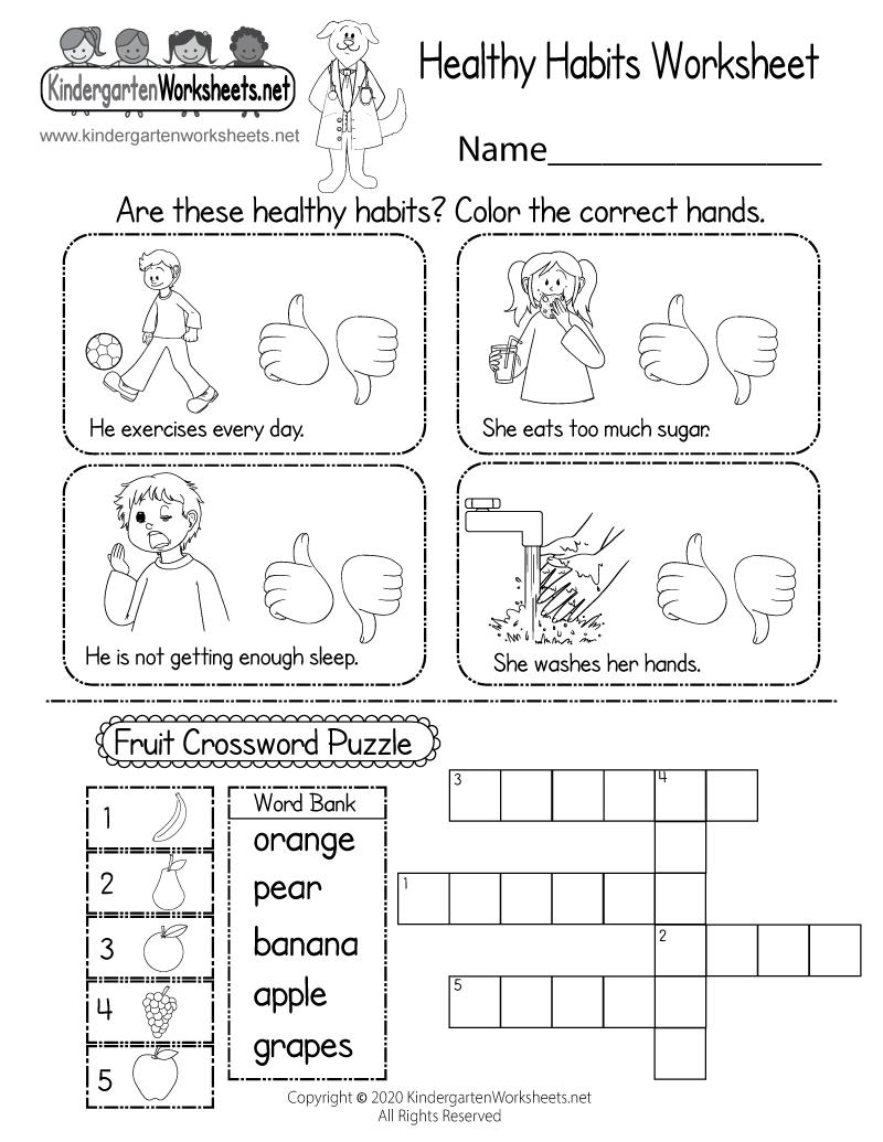 hight resolution of Healthy Habits Worksheet for Kindergarten - Printable