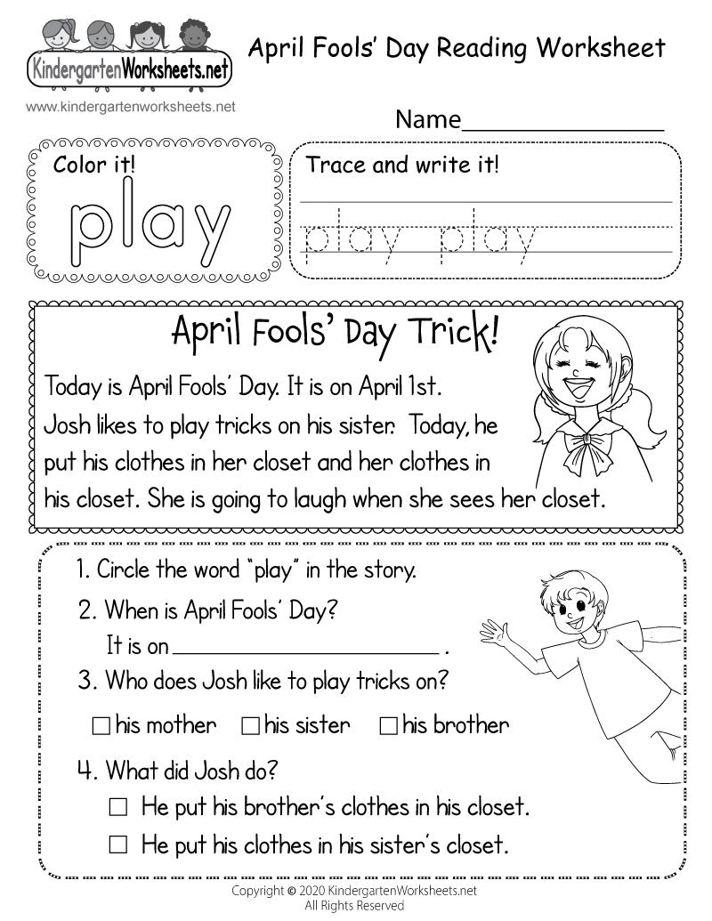 April Fools Day Reading Worksheet For Kindergarten