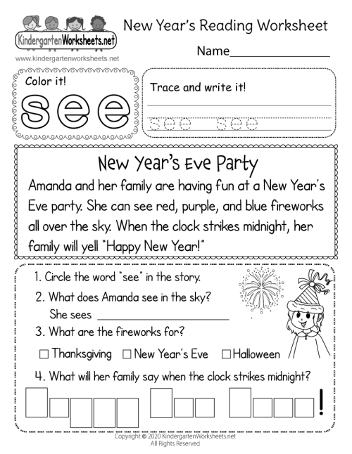 small resolution of Free Printable New Year's Reading Worksheet