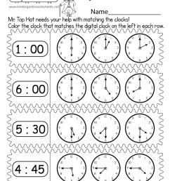 Matching Digital and Analog Clocks Worksheet - Free Printable [ 1035 x 800 Pixel ]