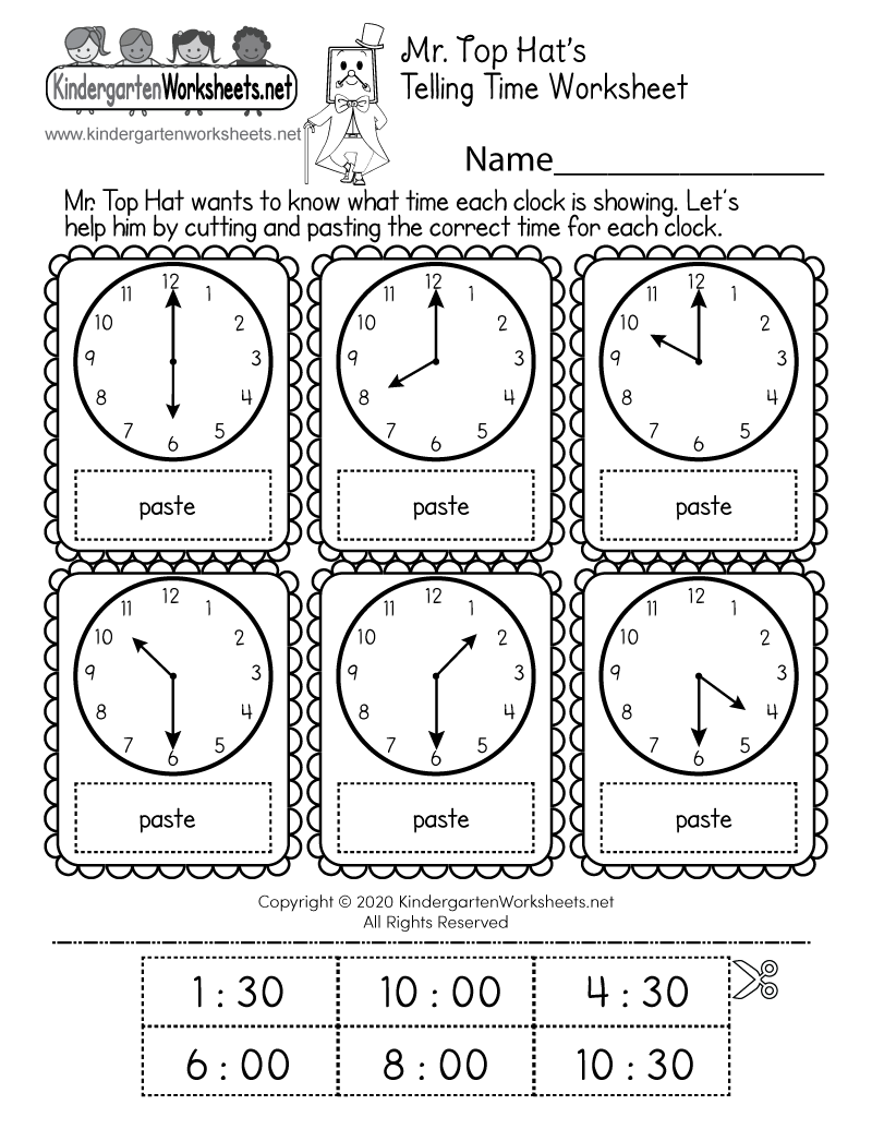 hight resolution of Cut and Paste Time Worksheet - Free Printable