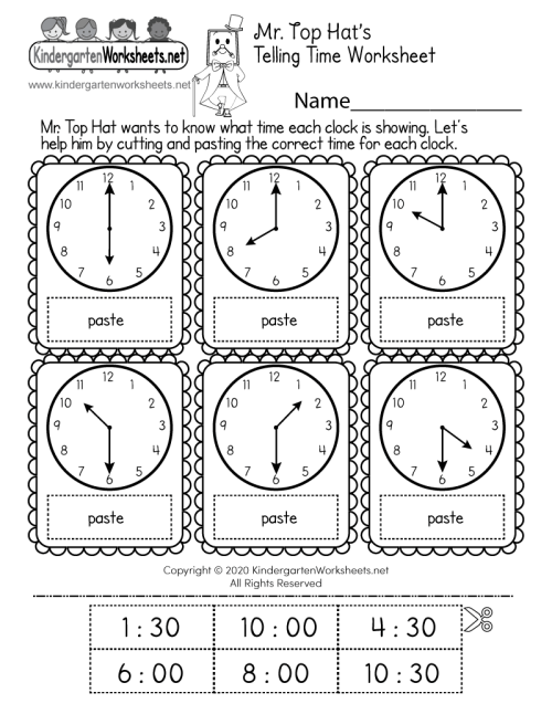 small resolution of Cut and Paste Time Worksheet - Free Printable
