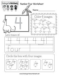 Number Four Worksheet - Free Kindergarten Math Worksheet ...